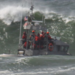 US Coast Guard trainig in the waves off Ocean Beach, San Francisco